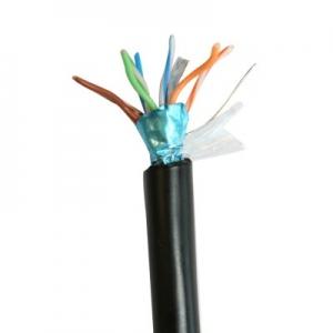 Keerdpaarkaabel Cat5e FTP 4x2x0,5 ühekiuline välitingimustele 24AWG PE must DRAKA 500m/rull