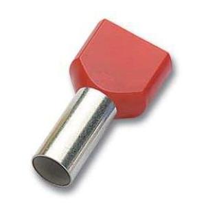 Juhtmehülss 2×1,0mm² isoleeritud L=8mm, punane 500tk/pakk