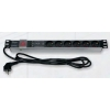 Toitepaneel 6 kohta Schuko lülitiga räckitav LED indik filter 2.3m 1U