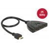 Ultra HDMI switch, 3 sisse/ 1 välja, 2160p@60Hz toega, integreeritud kaabliga 0.5m