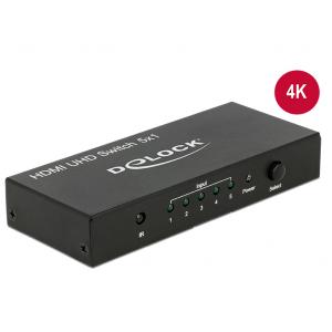 HDMI switch, 5 sisse/ 1 välja, 3840 x 2160 @60Hz, must, puldiga