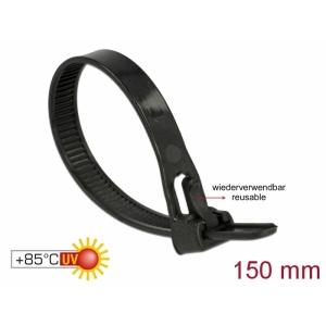 Kaablisidemed 150×7,5mm mustad, kuumuskindlad kuni 85°, 94V-2, taaskasutatavad (100tk)