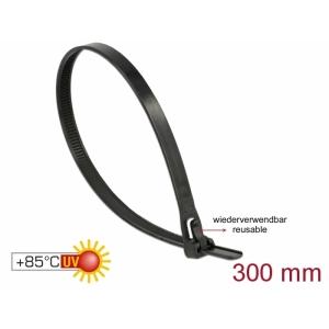 Kaablisidemed 300×7,6mm mustad, kuumuskindlad kuni 85°, 94V-2, taaskasutatavad (100tk)