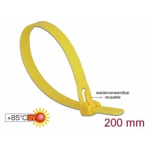 Kaablisidemed 200×7,5mm kollased, kuumuskindlad kuni 85°, 94V-2, taaskasutatavad (100tk)
