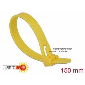 Kaablisidemed 150×7,5mm kollased, kuumuskindlad kuni 85°, 94V-2, taaskasutatavad (100tk)