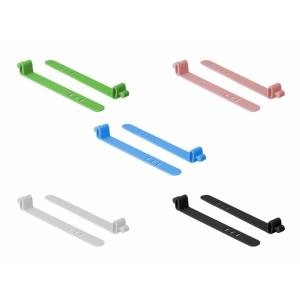 Kaablisidemed 80.0x11.0x1.5mm värvilised, taaskasutatavad (10tk), silikonist, kolme auguga