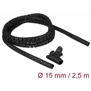 Juhtmete korrastaja plastikust 2.5m koos sidujaga, 15mm, must