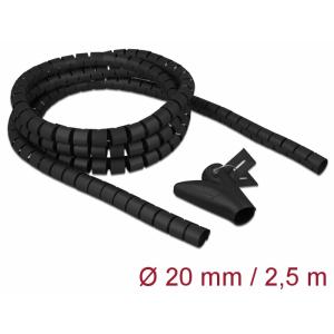 Juhtmete korrastaja plastikust 2.5m koos sidujaga, 20mm, must