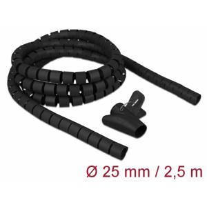 Juhtmete korrastaja plastikust 2.5m koos sidujaga, 25mm, must