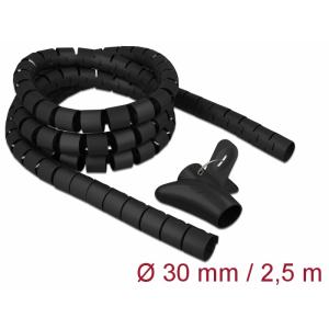 Juhtmete korrastaja plastikust 2.5m koos sidujaga, 30mm, must