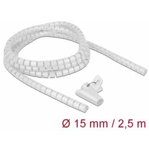Juhtmete korrastaja plastikust 2.5m koos sidujaga, 15mm, valge
