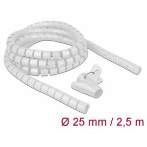 Juhtmete korrastaja plastikust 2.5m koos sidujaga, 25mm, valge