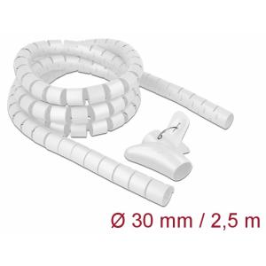 Juhtmete korrastaja plastikust 2.5m koos sidujaga, 30mm, valge