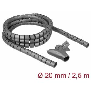Juhtmete korrastaja plastikust 2.5m koos sidujaga, 20mm, hall