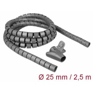 Juhtmete korrastaja plastikust 2.5m koos sidujaga, 25mm, hall