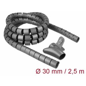 Juhtmete korrastaja plastikust 2.5m koos sidujaga, 30mm, hall