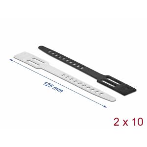 Kaablisidemed 125 x 8mm, valge/must, taaskasutatavad (20tk)