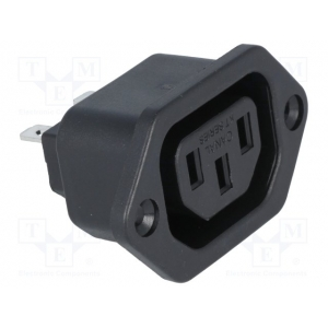 Toitepesa paneelile C13 10A, kruvikinnitus, push-on terminalid 4,8mm