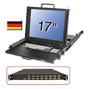 """17"""" LCD KVM Terminal + Switch - 16 porti, PRO DE"""