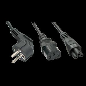 220V Toitekaabel 2.0m, must, CEE 7/7 pistik  - 1x IEC C13x1x IEC C5