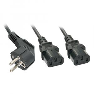 220V Toitekaabel 2.0m, must, Schuko - 2x C13 (Y-kaabel)