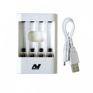 Minelab VANQUISH laadija 4xAA, USB kaabel