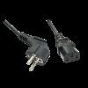 220V Toitekaabel 0.7m, IEC 320 C13 pesa nurgaga, must
