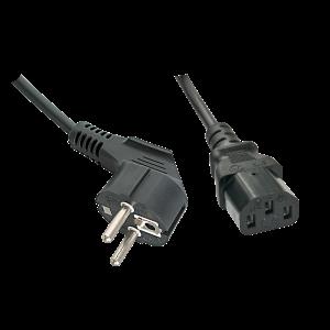 220V Toitekaabel 0.7m, must, CEE 7/7 pistik nurgaga - C13