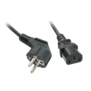 220V Toitekaabel 2.0m, must, CEE 7/7 pistik nurgaga - C13
