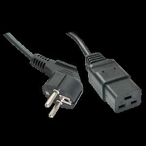 220V Toitekaabel 2.0m, must, CEE 7/7 pistik nurgaga - C19 (16A)