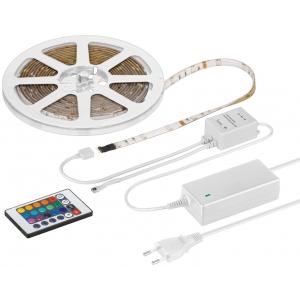 RGB LED riba 5.0m, 1.5m kaabliga, IP44, 300 LED´i, erinevad värvid, toiteplokk, kaugjuhtimispult RGB kontrolleriga