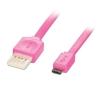 USB 2.0 kaabel A - Micro B 2.0m, lapik, pööratav, roosa