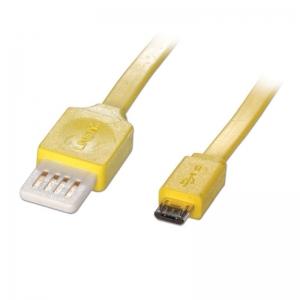 USB 2.0 kaabel A - Micro B 0.5m, lapik, pööratav, kollane