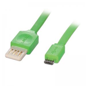 USB 2.0 kaabel A - Micro B 0.5m, lapik, pööratav, roheline