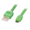 USB 2.0 kaabel A - Micro B 2.0m, lapik, pööratav, roheline