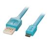 USB 2.0 kaabel A - Micro B 2.0m, lapik, pööratav, sinine