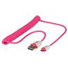 USB 2.0 kaabel A - Micro B 1.6m spiraal, roosa