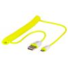 USB 2.0 kaabel A - Micro B 1.6m spiraal, kollane