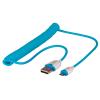USB 2.0 kaabel A - Micro B 1.6m spiraal, sinine