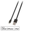 USB 2.0 - Lightning kaabel 1.0m, lapik, pööratav, must