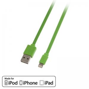 USB 2.0 - Lightning kaabel 1.0m, lapik, pööratav, roheline