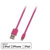 USB 2.0 - Lightning kaabel 1.0m, lapik, pööratav, roosa