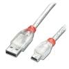 USB 2.0 kaabel A - Mini B 0.2m, läbipaistev