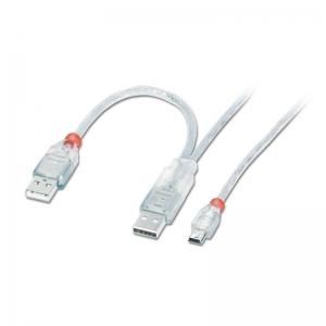 USB 2.0 Y-kaabel, 2 x A - Mini-B 1.0m