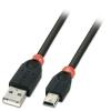 USB 2.0 kaabel A - Mini B 0.5m, must