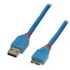 USB 3.0 kaabel A - Micro B 2.0m, helesinine
