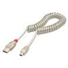 USB 2.0 kaabel A - Mini B spiraalkaabel 0.2 - 2.0m, läbipaistev