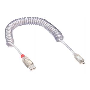 USB 2.0 kaabel A - Micro B spiraalkaabel 0.2 - 2.0m, läbipaistev