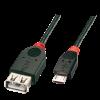 USB 2.0 pikenduskaabel A - Micro B 0.5m, must