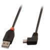 USB 2.0 kaabel A - Mini B 90 kraadise nurgaga paremale 0.5m, must